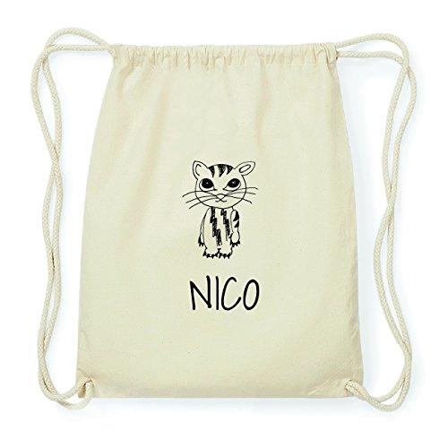 JOllipets NICO Hipster Turnbeutel Tasche Rucksack aus Baumwolle Design: Katze