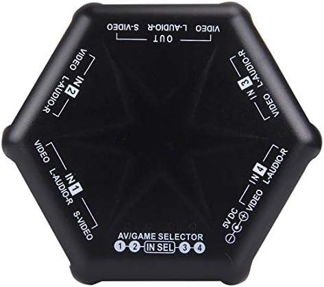 KMLP RCAケーブルアダプター AV-666DマルチボックスRCA AVオーディオビデオ信号スイッチャー 3 RCAケーブル、4グループ入力、1グループ出力システム