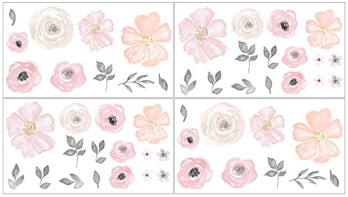 Sweet JoJo Designs Blush Pink, Grey and White Peel and Stick Wall Decal Stickers Art Nursery Decor for Watercolor Floral Collection - Set of 4 Sheets ()