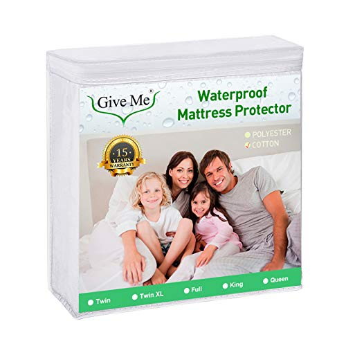 Give Me Premium Waterproof Mattress Protector, Twin Size Cotton Fitted Mattress Pad Cover - Breathable, Quiet, Hypoallergenic, Vinyl Free