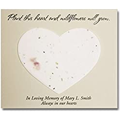 Plantable Wildflower Heart Seed Memorial Cards (Set of 25) - Heart Seed Cards for Funerals - Personalized Funeral Favor or Gift