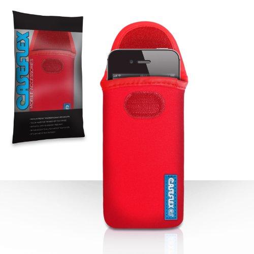 iPhone 4 / 4S Tasche Rot Neopren Beutel Hülle Mit Caseflex Logo