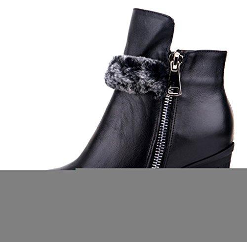 BTWE Bottines femme semelle de caoutchouc Fourrure de lapin Doublure de coton noir 42