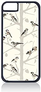 Birds and Branches- Case for the Apple Iphone 5C-Hard Black Plastic Outer Shell with Inner hard Black Rubber Lining