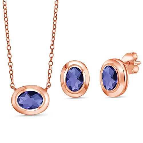 Gem Stone King 1.95 Ct Oval Blue Iolite 18K Rose Gold Plated Silver Pendant Earrings Set