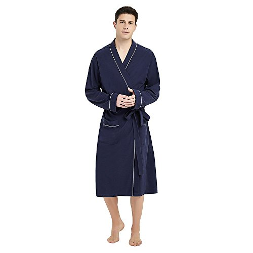 U2SKIIN Mens Cotton Robe Lightweight Knit Bathrobe (L/XL, Navy Blue)