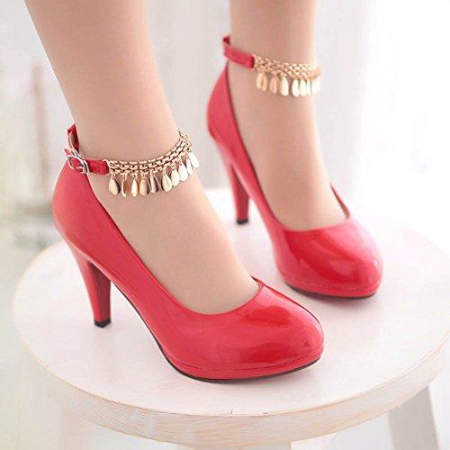 Chfso Donna New Round Toe Cinturino Alla Caviglia Fibbia Catena Metallo Scarpe Basse Scarpe Rosse