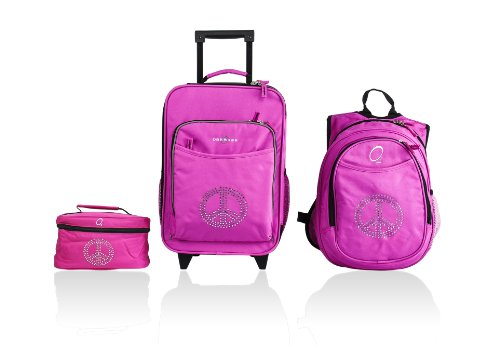 obersee-little-kids-luggage-set-bling-rhinestone-peace