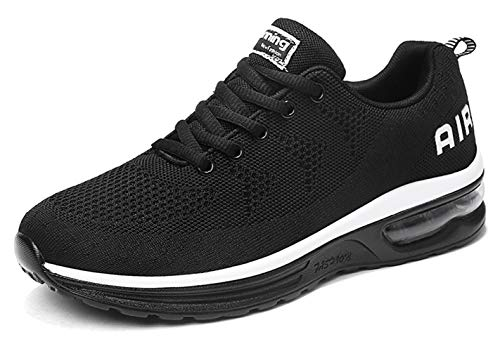 TSIODFO Men air Cushion Sport Trail Running Shoes for 2019 Summer Flyknit Fashion Sneakers Breathable Comfort Youth Boys Tennis Shoes Gym Workout Athletic Walking Shoe Size 8 (835_Blackwhite-41)