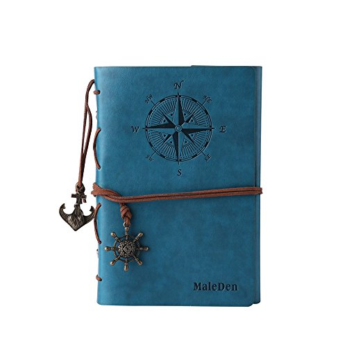 Leather Writing Journal Notebook, MALEDEN Classic Spiral Bound Notebook Refillable Diary Sketchbook Gifts with Unlined Travel Journals to Write in for Girls and Boys (Sky (Leather Photo Pack)