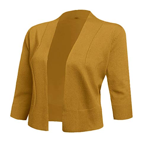 AAMILIFE Women's 3/4 Sleeve Cropped Cardigans Sweaters Jackets Open Front Short Shrugs for Dresses (XX-Large, Mustard)