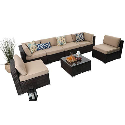 PHI VILLA Outdoor Rattan Sectional Sofa- Patio Wicker Furniture Set (7-Piece, Beige)