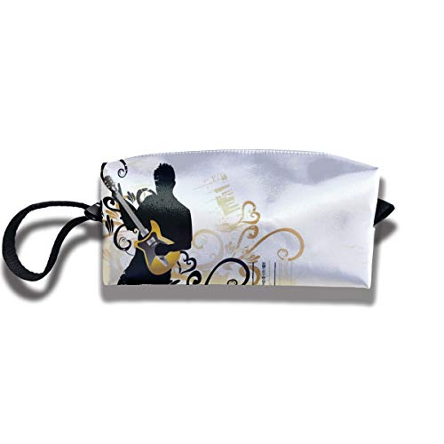 Kla Ju Portable Pencil Bag Cosmetic Pouch Guitar Art Stationery Purse Storage Organizer]()