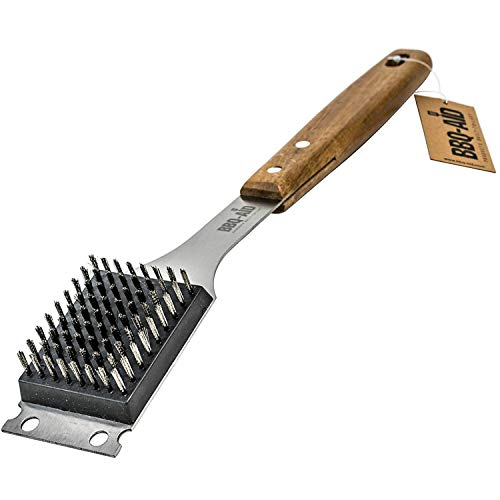 Large Wooden handle BBQ Grill Brush by BBQ-AID