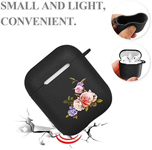 Wuyee Case for Airpod Cover Silicone with Hook, Ear Phone Skin of flowers and Waterproof Protective for Apple Airpods 1/2