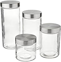 Anchor Hocking Callista 4 Piece Glass Canister Set with Stainless Steel Lids