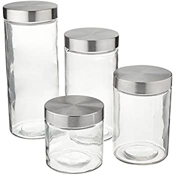 Palais glassware canister clear glass with for Clear bathroom containers