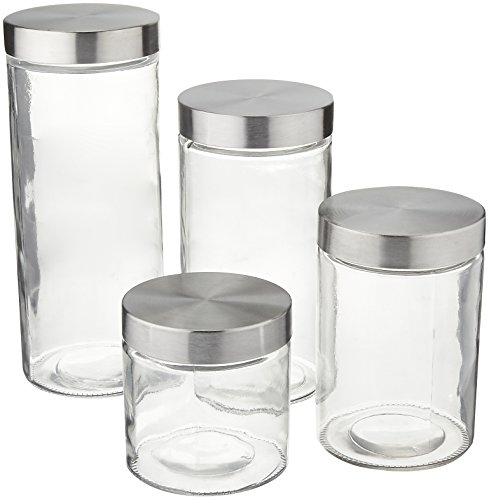 Anchor Hocking Callista 4 Piece Glass Canister Set with Stainless Steel (Cylinder Screw Set)