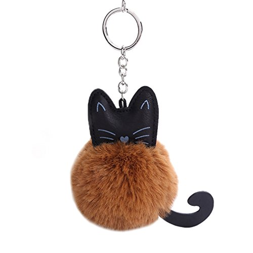 Youngate Cute Animal Pompom Faux Fur Puff Ball Cat Keychain Bag Car Ring Pendant Keyrings