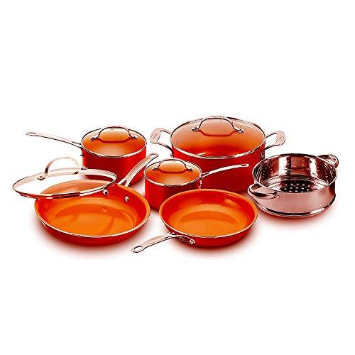 Copper Pan 10-Piece Set Luxury Induction Cookware Set Non-stick