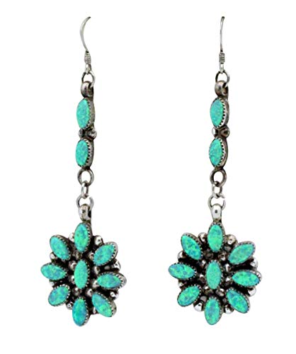 (Elliot Coonsis, French Hook Earring, Synthetic Green Opal, Zuni Handmade, 3)