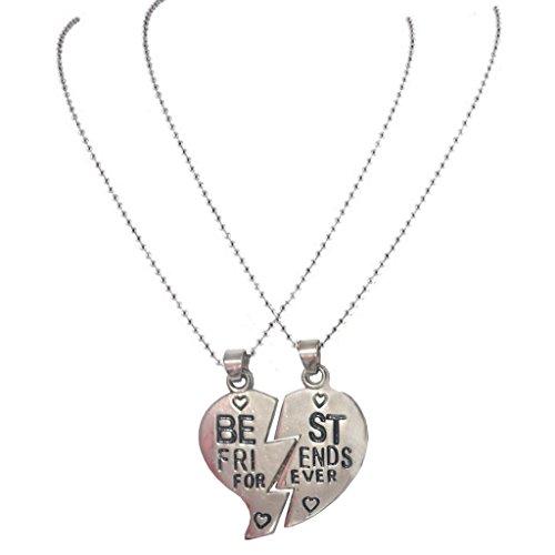 Men Style Friendship BEST FRIEND Heart Silver Tone 2 Charms 2 Necklaces Silver Zinc Alloy Heart Shape Pendent For Men And Women