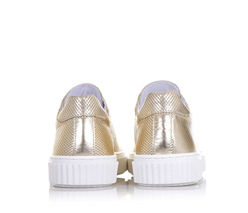 CIAO BIMBI - Chaussure à lacets dorée en cuir, lacets blancs, logo sur la languette, coutures visibles, fille, filles, femme