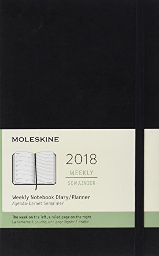 Moleskine 12 Month Weekly Planner, Large, Black, Soft Cover (5 x 8.25)