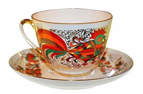 Lomonosov Porcelain Tea Set 2pc Cup and Saucer Spring Red Rooster 7.8 oz/230 ml