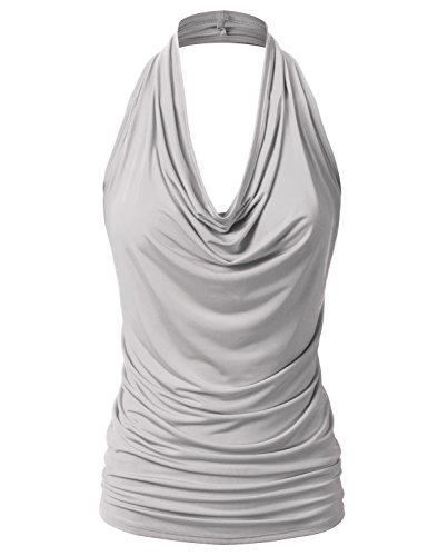 EIMIN Women's Casual Halter Neck Draped Front Sexy Backless Tank Top Silver M