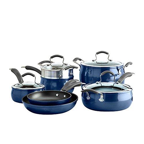 Epicurious Aluminum Nonstick 11-Piece Cookware Set in Arctic Blue