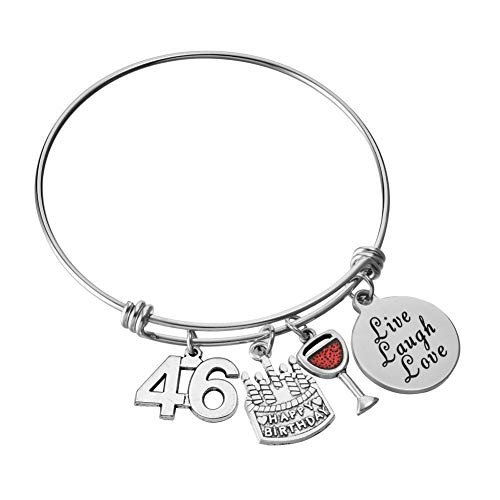 Miss Pink 46th Birthday Jewelry Gifts for Women Stainless Steel Adjustable Wire Bangle Charm Bracelets