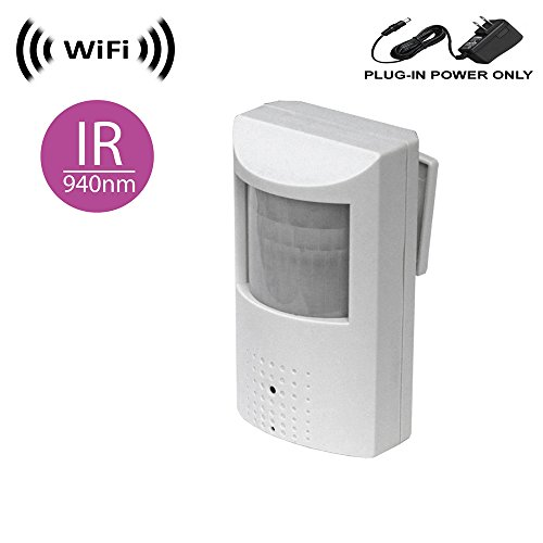 (WF-450-IR Wireless Spy Camera with WiFi Digital IP Signal, Recording & Remote Internet Access (Camera Hidden in PIR Motion Detector) w/ 940nM Total Invisible 30ft Night Vision (Full View, no Hotspot))