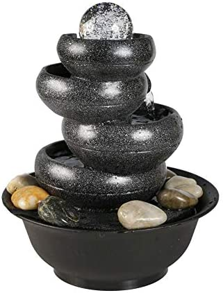 Shamdon Home Collection Tabletop Fountain 11.4inches 4 Tier Living Room Office Indoor Fountain Zen Meditation Waterfall with Ball LED Light