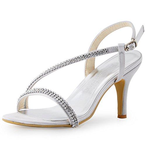 ElegantPark EP11097 Women Open Toe High Heel Rhinestones Satin Prom Evening Sandals Silver US 9 ()