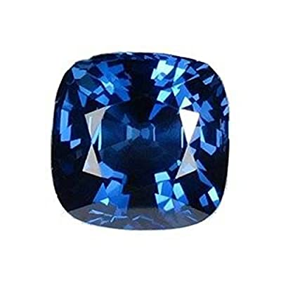 Blue Synthetic Sapphire Cushion Square Facet Unset Gemstone 4 Carats from uGems