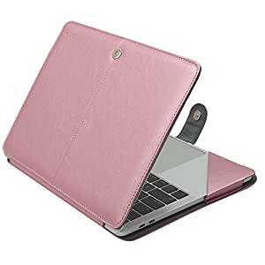 Mosiso MacBook Pro 13 PU Leather Case 2017 / 2016 Release A1706 / A1708, Book Folio Stand Cover with Clear Straps at Top Corners for Newest MacBook Pro 13 Inch with/without Touch Bar, Rose Gold