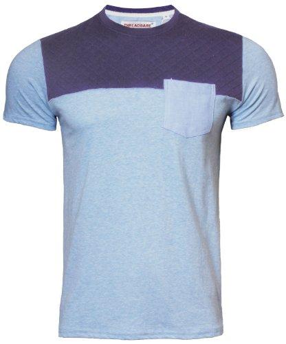 Threadbare Herren T-Shirt Stepp-Detail Rundhals Kurzarm 074 Blau marl Gr. S