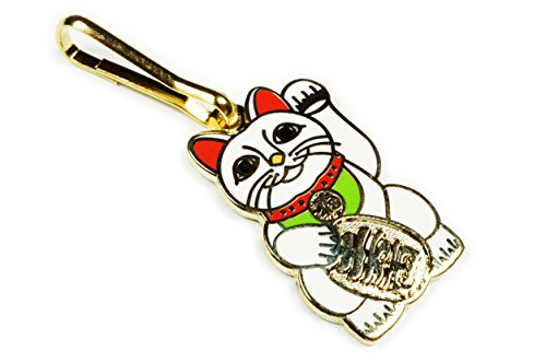 Maneki Neko Lucky Cat Japanese Talisman Backpack Jacket Vest ZIPPER PULL CLIP (Pin Hat Porcelain)