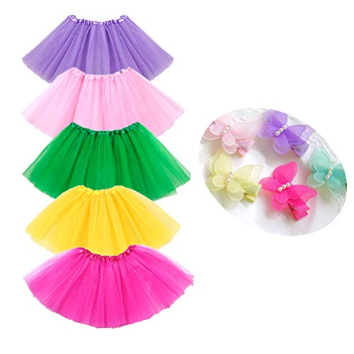 (BGFKS 5 Pack Tutu Skirt for Girls 3 Layers Ballet Dressing Up Kid Tutu Skirt)