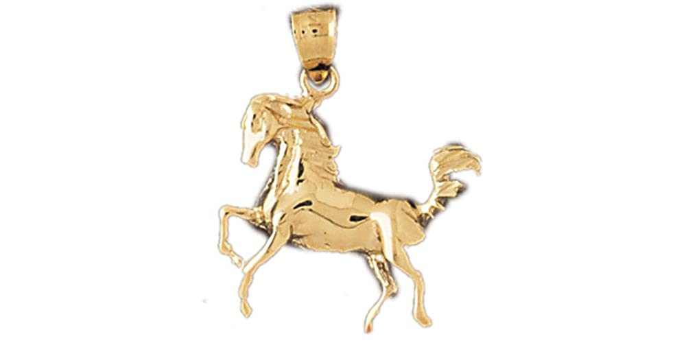 14k Yellow Gold Horse Pendant on a 14K Yellow Gold Rope Box or Curb Chain Necklace