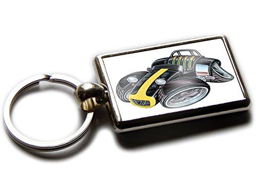 Koolart Cartoon Car Caterham Superlight R Chrome Keyring Picture Both Sides (Black & Yellow)