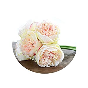 4 Colours 1Bunch European Artificial Flower Fake Peony Bridal Bouquet Christmas Wedding Party Home Decorative Champagne 89