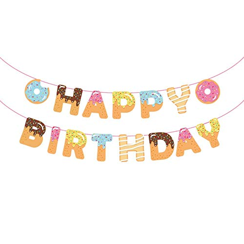 Donut Party Supplies - Donut Happy Birthday Banner - Donut Themed Party Tea Party Kids Birthday Baby Shower Wall Decoration