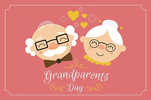 Baocicco 漫画の祖父母の日 赤い背景 5x3フィート 綿 ポリエステル 写真 背景 祖父母 眼鏡付き 太陽 ハート 愛 若いメンタリティ ハッピー退職   B07FXCL6T8