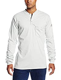 Bulwark Flame Resistant 6.25 oz Cotton Long Sleeve Tagless Henley Shirt, Grey, 2X-Large