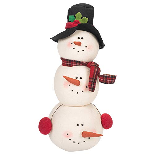 Delton Products Christmas 14 inches Winter Tartan Snowman Head Stack Plush Puppet ()