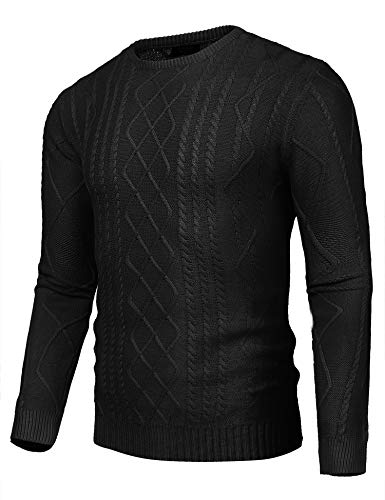 COOFANDY Mens Business Slim fit Cable Knitted Long Sleeve Crew Neck Pullover Sweater ()