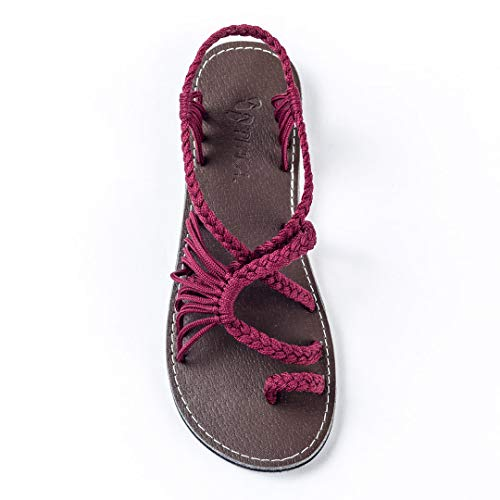 Plaka Womens Sandlas Sunset Sangria 9 Palm Leaf ()