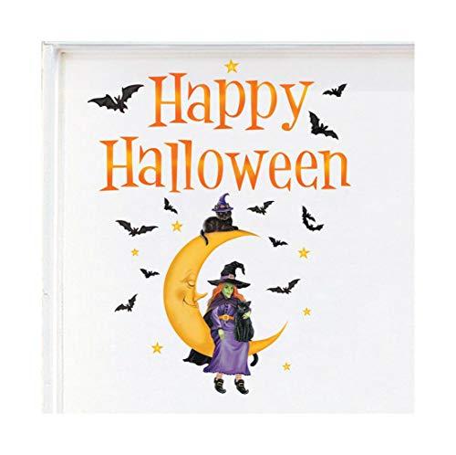 Happy Halloween Witch Sitting on Moon Festive Outdoor Garage Door -